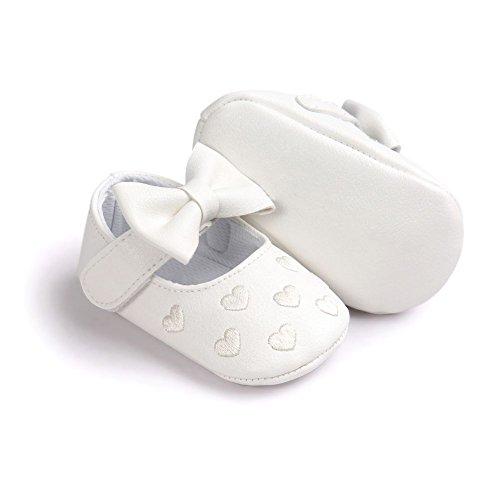 MiyaSudy Baby Schuhe Mädchen Bowknot Anti-Rutsch Weiches Sole Krabbelschuhe Lauflernschuhe für 0-18 Monate Weiß