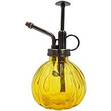 OFFIDIX Botella de Spray de Riego de Vidrio Amarillo 6.3 Pulgadas de Alto Spritzer de Estilo Vintage con Tapa de Plástico de Bronce Bomba una Regadera de Mano