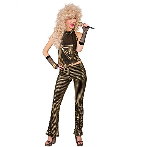 Disco Kostüm Einfach - 80s Kostüm Goldi Gr. 38 Top Hose gold Fasching 70er 80er Jahre Disco Outfit