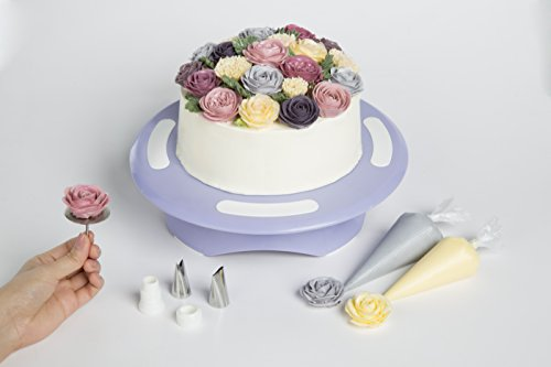 Cake Turntable by LAVANDIN - Rotating Cake Stand - Cake Decorating Supplies - Lavandin's Exclusive Online Cake Decorating Video Tutorials - Complete with Flower-Making Kit
