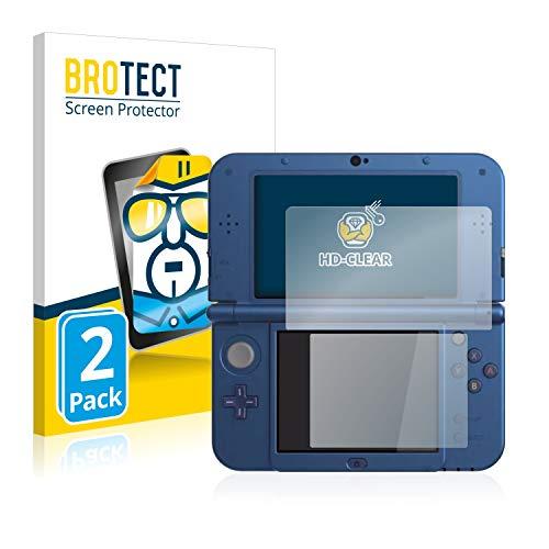 BROTECT Schutzfolie kompatibel mit Nintendo New 3DS XL [2er Pack] - kristall-klare Displayschutz-Folie, Anti-Fingerprint