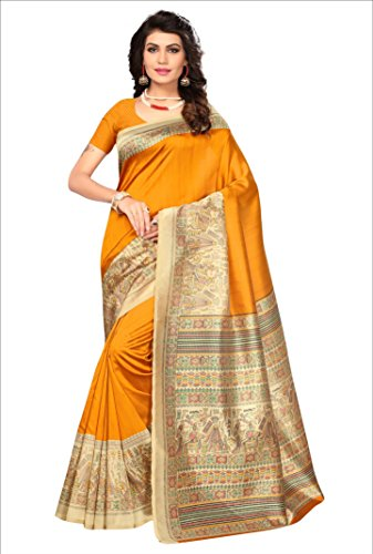 Mrinalika Fashion Women\'S Art Silk Saree With Blouse Piece ( Yellow_Srja048_Free Size )