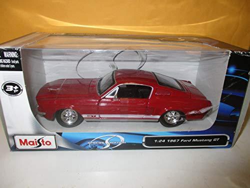 Maisto Ford Mustang GT 1967: Originalgetreues Modellauto 1:24, mit Türen und Motorhaube zum Öffnen, Fertigmodell, rot (531260)