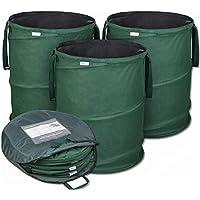 Bolsas de jardín emergentes de GloryTec 3 x 170 litros | Bolsas de residuos de jardín estables hechas del robusto poliéster Oxford 600D | Bolsas de jardín Premium estables y plegables