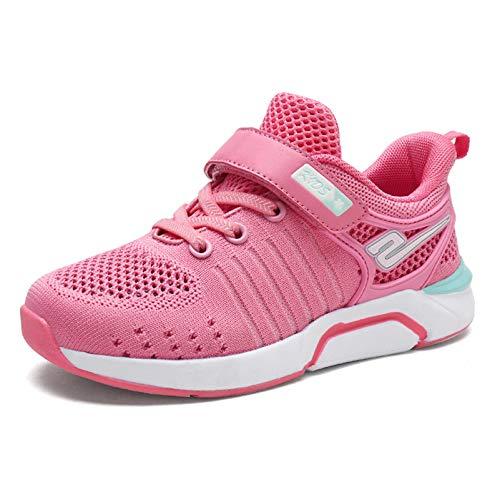 Qianliuk Kinder Mesh atmungsaktive leichte Sportschuhe Mädchen Rosa Grün Weiche Untere Turnschuhe mit Klettverschluss Laufschuhe (Universum Turnschuhe)