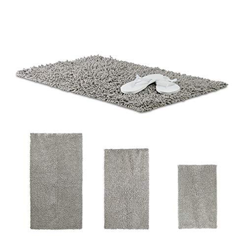 Relaxdays Alfombra de baño Shaggy, hecha a mano, pelo largo de algodón, antideslizante, 80 x 50 cm, gris