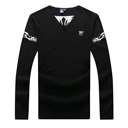 Insun Herren Sweatshirt Pullover Sweater mit V-Ausschnitt Herbst Winter Feinstrickpullover Schwarz EU 3XL (V-ausschnitt Herren-pullover Alpaka-wolle Mit)
