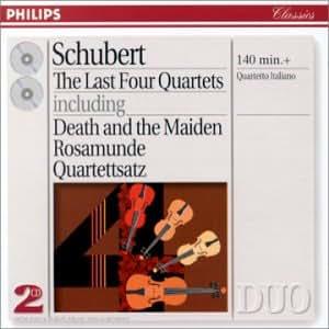 """Schubert : les quatre derniers Quatuors : n° 12 """"Quartettsatz"""" - n° 13 """"Rosamunde"""" - n° 14 """"La jeune fille et la mort"""" - n° 15"""