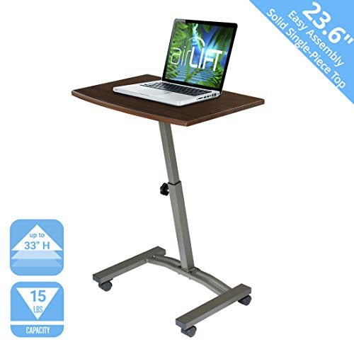 Seville Classics Mobiler Laptoptisch, Metall, braun, 60 x 40 x 84 cm -