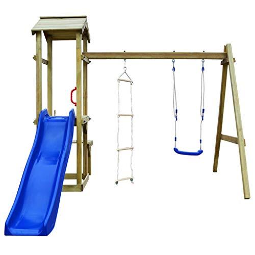 Galapara Spielturm Kletterturm Spielplatz mit Holzturm Schaukel, Strickleiter, Wellenrutsche, Extra-Plattform, komfortabler Handgriff | Klettergerüst für den Garten | Spielplatz kinderschaukel