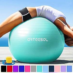 arteesol Gymnastikball 45cm / 55cm / 65cm / 75 cm inkl. Pumpe Anti-Burst...