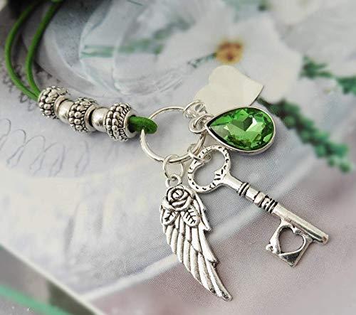 Bettelkette Schlüssel Tropfen Kristall Flügel Herz Handmade Lederkette Kordel lang verstellbar -