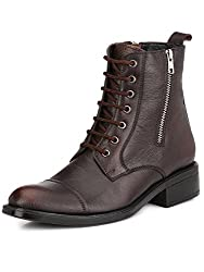 Mactree Mens Black Leather Double Chain+Lace Up Boots-1558 (7, Brown)