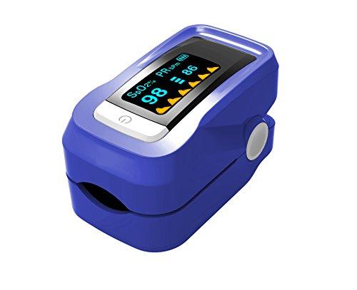 Puls-Oximeter, Finger Puls Oximeter Alarm Pulston Sauerstoffsättigung, für präzise Sport Herzfrequenzmesser mit tragbarer Umhängeband und Tasche, für Kinder Erwachsene, Lila