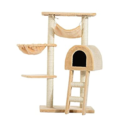 PawHut Cat Tree Kitten Activity Centre Scratch Scratching Scratcher Climber Post Rest Bed Toy 100cm