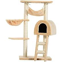 PawHut Árbol para Gatos Rascador con Poste para Arañar Nido Hamaca Plataforma Caseta Escalera Terciopelo Sisal