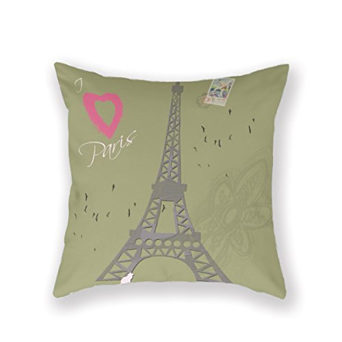 Best Design Kissenbezug Paris 45,7x 45,7cm Überwurf, Baumwolle, Muster, Feines, Frankreich verstecktem Reißverschluss Kissenbezug Eine Seite