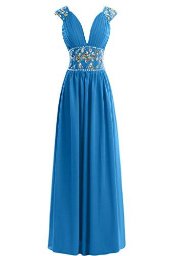Sunvary guaina con scollo a V, in Chiffon con perline Sbuffi abiti da sera o da cerimonia, con diamanti Blue
