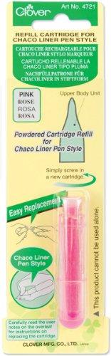 Clover 4721 Nachfüllpatrone für Chaco Liner Stiftform, Inhalt circa 2,5 g Kreidepulver, rosa