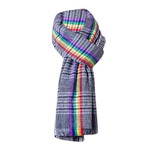 (Damen Schal Frühling und Herbst BaumwolleTourismus großen Schal Urlaub Sonnencreme Warmen Sonnenblende Dekoration Rainbow Jacquard Schals Verlaufsfarben Schal (Schwarz))