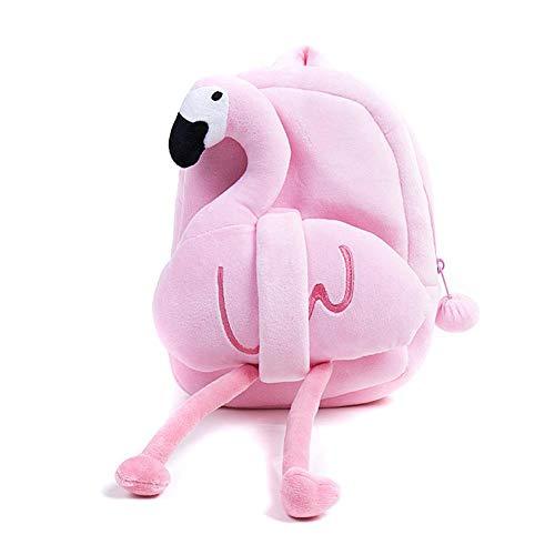 Mochila infantil de peluche con arnés de seguridad para correa y bonito juguete 3D para niños de 1 a 6 años (flamenco rosa), mini mochilas de animales