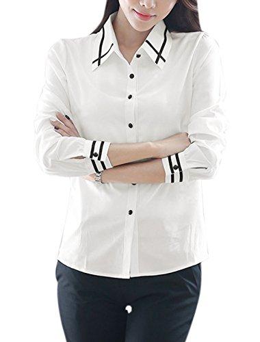 sourcingmap Femme Col Pointu boutonné Rayures Couture Chemise Décontractée Blanc