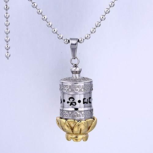QYZLT Pet Sarg einfache Farbe Gold Lotus Anhänger Haustier Edelstahl Tier Urne Box Halskette -