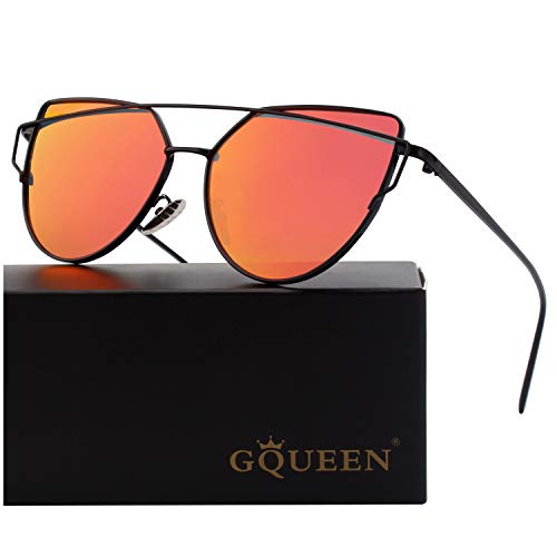 GQUEEN Mode Polarisierte übergroße Katzenaugen CatEye Sonnenbrille Damen Frau Gespiegelte Verspiegelt Linse Metallrahmen Cat Eye Sunglasses MT3