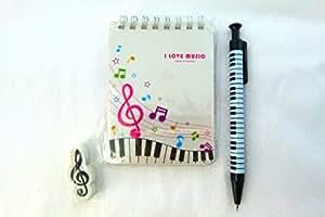 Musique thème cahier - blanc Musical Note Clavier Conception A7 Carnet à spirale Bound, Clef de Sol Eraser & Mechanical Pencil