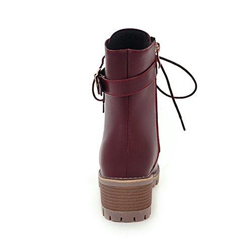 VogueZone009 Donna Pelo di Coniglio Allacciare Punta Tonda Tacco Medio Puro Stivali Rosso