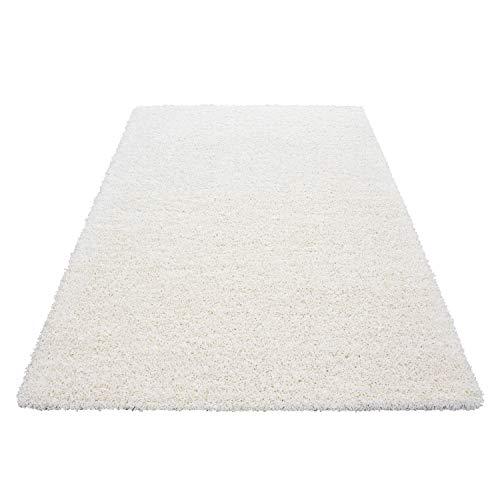 Unbekannt Shaggy Hochflor Langflor Teppich Wohnzimmer Carpet Uni Farben, Rechteck, Rund, Größe:160x230 cm, Farbe:Creme