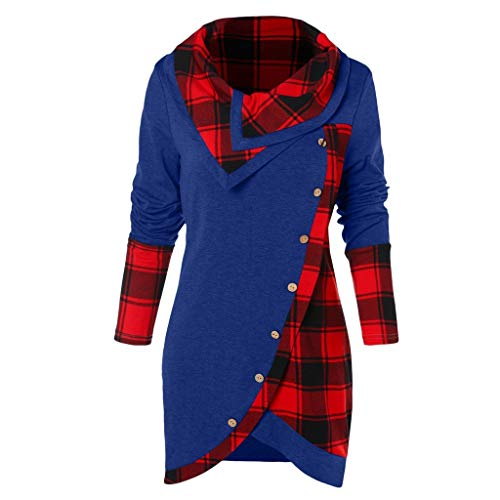 Weiß Mock Neck (FRAUIT Damen Plaid Sweatshirt Mock Neck Top Asymmetrisch Spitzen Bluse Langarm Pullover Kleid Slim Fit Sweatshirt Langarmshirt Frohe Tops Cowl Neck Strickpullover Lang Bluse Shirt S-4XL)