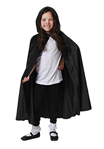 Kinder Halloween Umhang mit Kapuze Mädchen Jungen Vampir Kostüm Satin Karneval Fasching Cape 110cm ()
