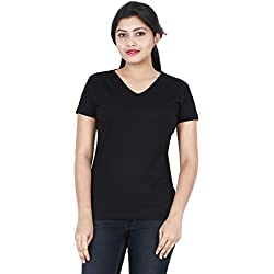 Fleximaa Women's Cotton V Neck T-Shirt Plain Black Color L Size.(vwblack-m)