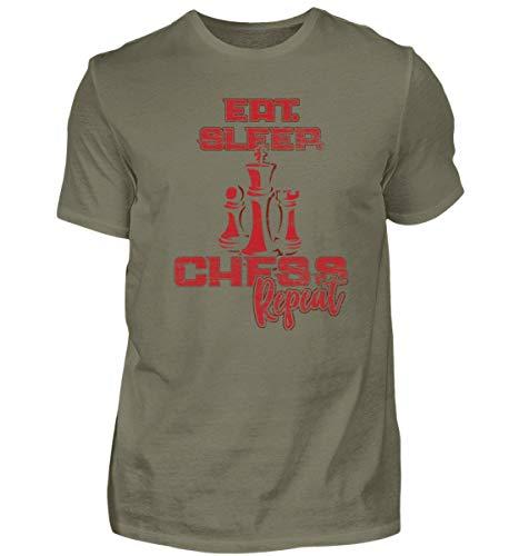 Essen Schlafen Schach Wiederholen - Geschenk für Schachspieler - Strategie Brettspiel - Herren Premiumshirt -3XL-Dunkelgrau