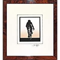 Cyclist (Male) Original Signed Hand Cut Silhouette Papercut Art by John Speight in Walnut Veneer Frame - Gift for Him