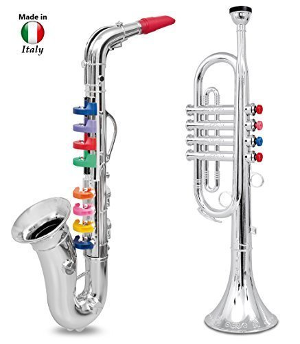click-n-play-set-of-2-musical-wind-instruments-for-kids-metallic-silver-saxophone-and-trumpet-horn-b