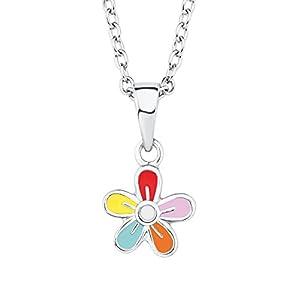 Prinzessin Lillifee Kinder-Kette Mädchen mit Anhänger Blume 925 Silber rhodiniert Emaille bunt