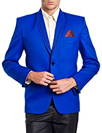 Wintage Men's Polyester Cotton Two Buttoned Shawl Lapel Festive Blazer-Two Colors Available