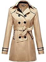 DJT Damen Trenchcoat Mantel Outerwear Herbst Jacke Zweireiher mit Guertel Gr S-XL
