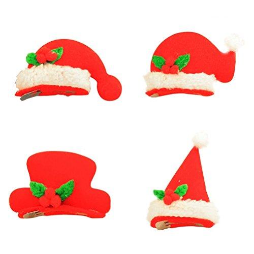 Bonnets Père Noel Lumineux Barrette Tinksky 20pcs Chapeaux de Noel Pinces Cheveux