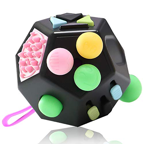 VCOSTORE 12 Sides Fidget Cube Toys, Decompression Cube with Sensory Finger, Relieves Stress and Anxiety Toys for Kids and Adults with Autism (Black)
