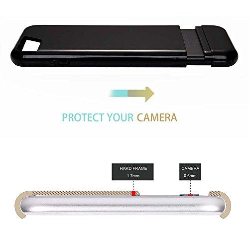 """MOONCASE iPhone 7 Plus Coque, Slim Fit Robuste PC Combination Bumper Housse Durable Antirayures Antichoc Protection Case pour iPhone 7 Plus 5.5"""" Bleu Ciel Noir Gold"""