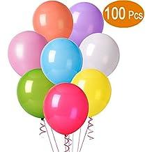 Cookey 100 Globos de Fiesta de Colores Diversos para Bodas, Fiestas de Cumpleaños - Globos de Latex de 30 cm