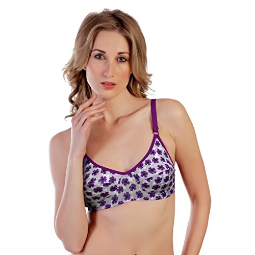 Souminie Women's Purple Floral Printed NonPadded Cotton Bra - 36B  available at amazon for Rs.125