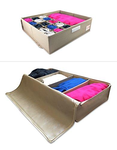 Divisore per cassetti & contenitore sottoletto con 4 divisioni per una stanza ordinata, organizzatore per vestiti adulti, bambini, intimo, trapunte, calze, scarpe, cravatte, reggiseni