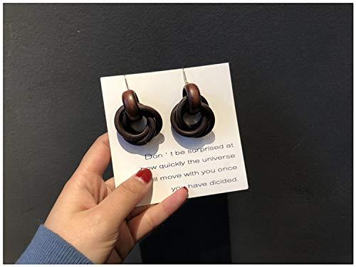 Chwewxi Doppelte 12 Special ~ Südkorea Temperament weiche Herbst Winter Ohrringe weibliche Lange Holz Ohrringe Holz Ohrringe Ohrringe weibliche, 3 braune Ohrhaken Paar