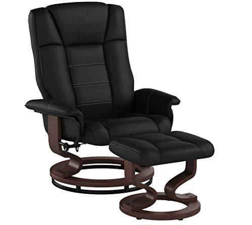 MCombo Relaxsessel Fernsehsessel TV Sessel Sofa kippbar Dreh mit Fußhocker Kunstleder Holzfüßen Schwarz/Creme (Schwarz)