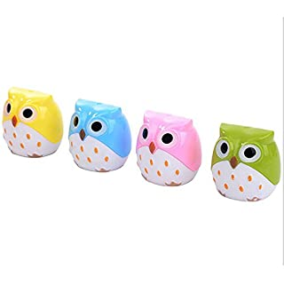 Allbusky Cute Owl Shape 2 Holes Pencil Sharpeners for Kids Girls Birthday Gift School Office Stationery Back to School Gift Christmas Xmas Gift 8 Pieces 8 Pieces (Colorful)