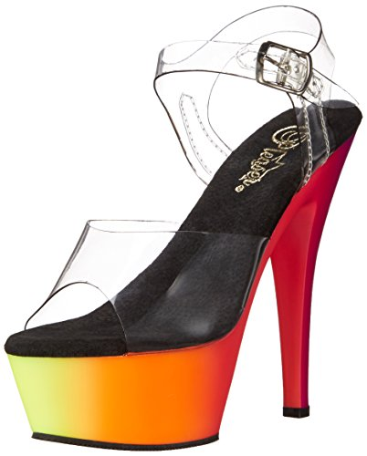 Pleaser Damen Rainbow-208uv Plateausandalen Transparent (Transparent)